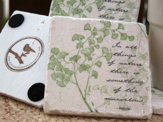 Nature Coasters - Ginkgo Leaf Design - Garden Home Decor - Set of 4 Tiles