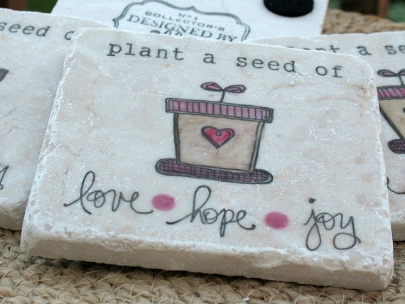 Plant a Seed of Love Coasters - For the Gardener Gift - Set of 4