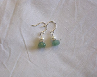 Faceted Green Aventurine and Freshwater Pearl Earrings on Sterling Silver
