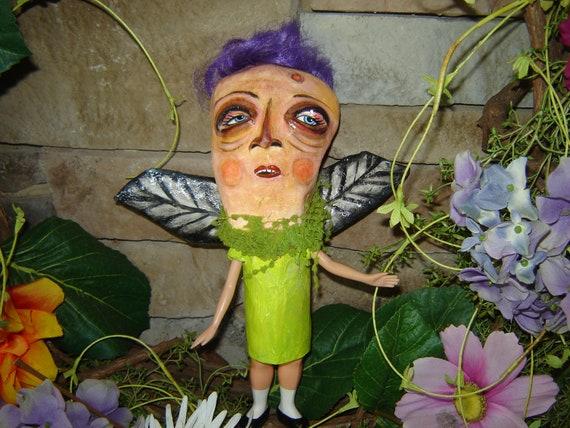 Folk Art Halloween Bat Doll