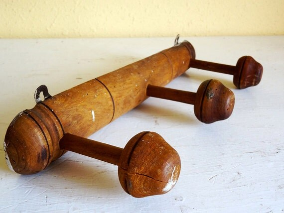 vintage French coat rack or hat rack, wood hooks in faux bamboo look