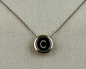 Black Vintage Typewriter Key Initial Necklace (gold)