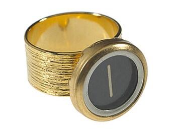 Vintage Typewriter Key Etched Initial Ring (gold)