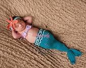 3 to 6 Month Turquoise  Mermaid Tail Costume, Baby Girl Halloween Mermaid Costume