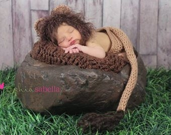 Newborn Lion Hat and Diaper Cover Photo Prop Costume Set