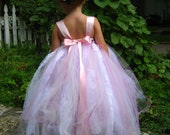Pink White and Ivory Flower Girl Dress - size 1T to 5T