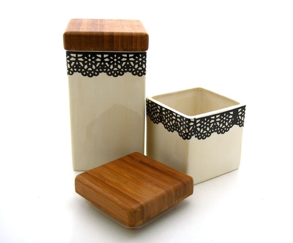 Lace Canisters for Kitchen with wood tops- set of three