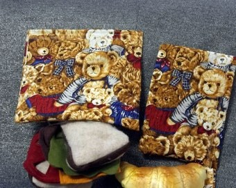 Reusable Sandwich N Snack Bag Set, Teddy Bear Love Print
