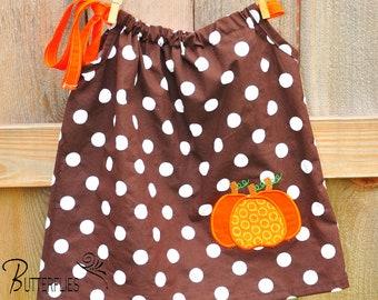 Custom Boutique Fall Brown Dot Pillowcase Dress with Pumpkin Applique--Sizes 0-12 months through 5T