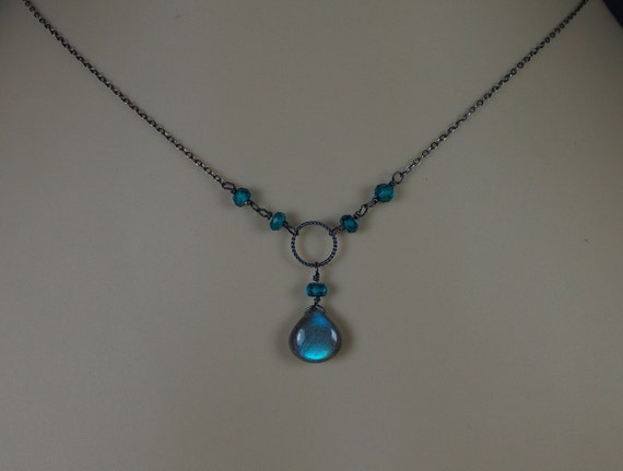 Labradorite Necklace, London Blue Topaz Necklace, Antiqued Sterling Silver, Twisted Ring