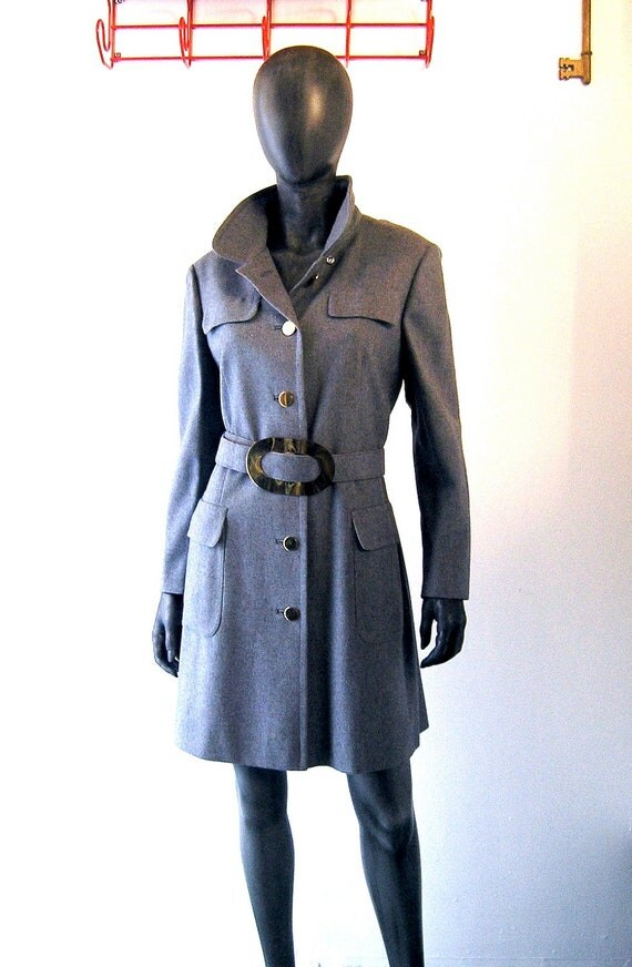 60s Bardley tailored gray flannel trench coat size 6/8 - Mad Men military style gold buttons/belt - Lord and Taylor NY 1960s