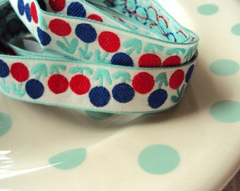 Woven Ribbon Trim - Aqua with Red and Blue Dots - 2 yards