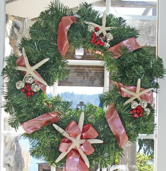 Beach christmas wreath starfish red silver berries