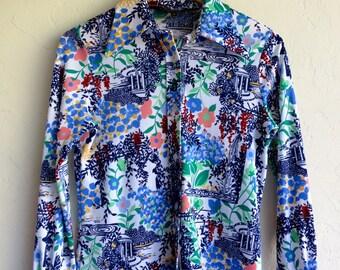 Retro Floral Print Button Up Shirt