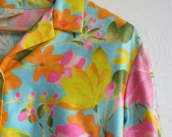 The Vintage Neon Floral Print Button Up Blouse Shirt