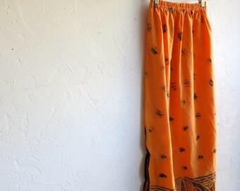 Orange Hawaiian Print Skirt