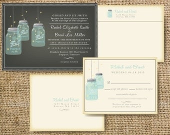 Custom Mason Jar Wedding Invitation - Rustic Mason Jar Invitation Customize colors