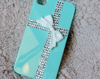 Teal blue Present Style Apple Iphone 6G 5G 5C case, with Rhinestone Crystal Fackback