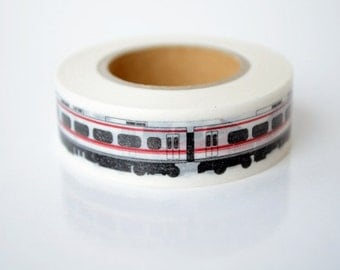 mt Washi Masking Tape - Red & White Train - Panorama Super - Limited Edition