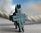 ANTIQUE cross that used to have holy relics sealed inside, most likely XII century, vintage, coolvintage, metal patina cross,  Aug 10