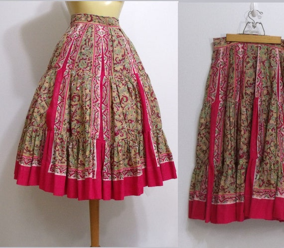 Vintage 1950s  Sheer Hot Pink Bohemian Skirt