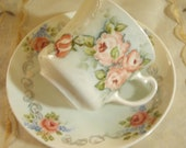 SHABBY COTTAGE CHARM - Vintage Porcelain - Bone China Tea Cup and Saucer - Pink Roses and Blue  Forget me Nots- England- Sweet