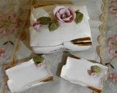 SHABBY COTTAGE CHARM - Vintage Porcelain Rose Trinket Box Set - Vanity Box - Jewelry Box
