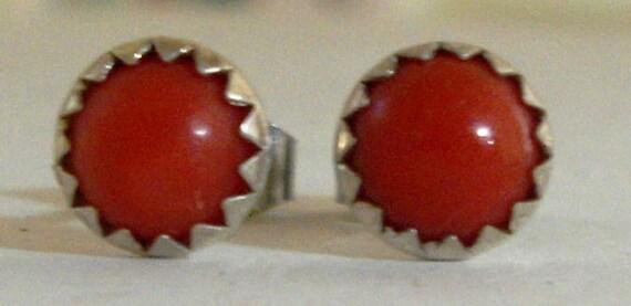 Vintage Sterling Silver Red Coral Stud Earrings - Pierced - 1960 Era - Beautiful - NOS