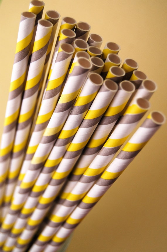 Gray & Yellow Striped Paper Straws and PDF Printable Party Flags