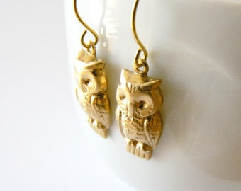 Gold brass owl earrings. Autumn jewelry. Greek goddess earrings. Dangle earrings. Inspired by the bird of bright-eyed Athena.