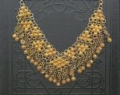 Vintage Chain Bib Necklace . Two Tone Geometric with Fringe.