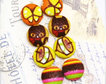 """Garden picnic - fabric covered button ear studs, set of 4 -  1/2"""", 12mm (BS)"""