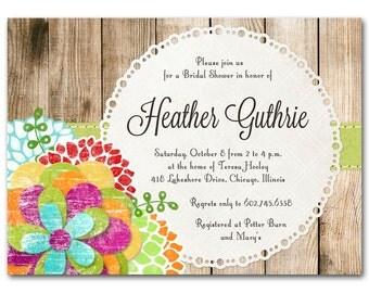Bridal shower invitation, bright and colorful baby shower invitation, beautiful and bold flowers, printable digital DIY