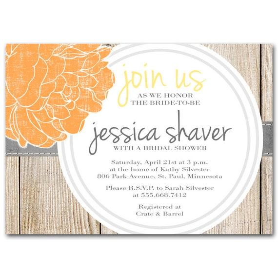Fall Bridal shower invitation, Orange, yellow and gray baby shower invitation, printable digital DIY for autumn