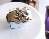 Cluster Repoussee Ring  1953 Vintage Cz Diamond  Ring In 14kt  Gold Karatclad HGE Sterling size 6