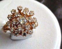 Statement Cluster Ring Cocktail And Sparkle 18kt Heavy gold electroplated vermeil size 6