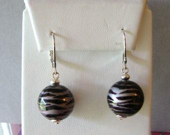 Silver and purple zebra dangle earrings (C1)