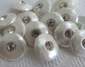 Pearl Rhinestone Vintage Buttons - 4 Mid Century Summer Glam - LAST in Stock