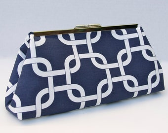Navy Handbag Clutch for Bridesmaids or Gift in Navy Geometric Lattice Pattern