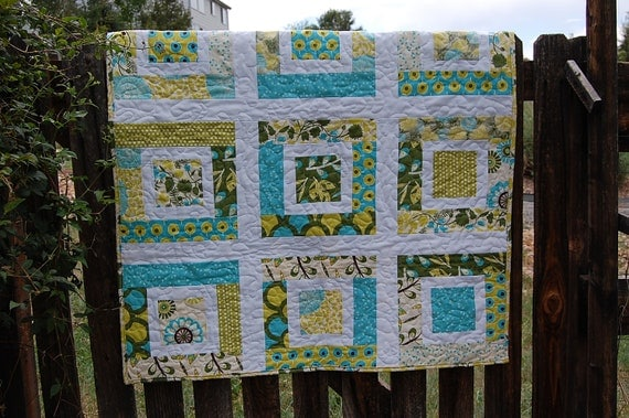 Scrap Quilt - Liz Scott Sugar Pop fabrics in Blue and Chartreuse Colorway - READY to SHIP - Lulu Quilt Sample Sale price