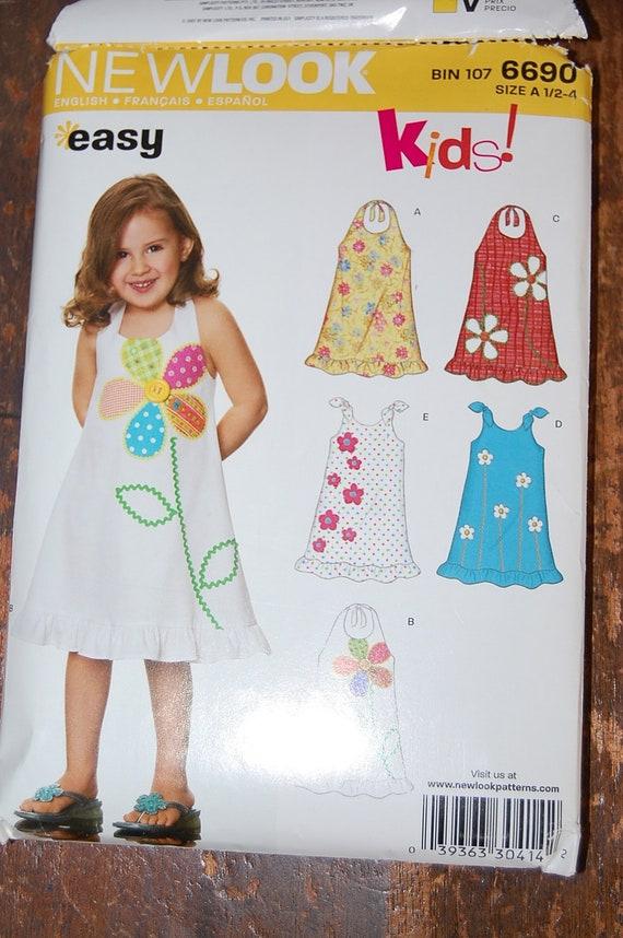 Simplicity New Look  pattern Little Girls Dress size A 1/2 1 2 3 4  pattern 6690 UNCUT