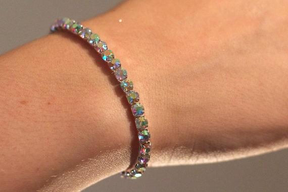 Breathtaking Swarovski Tiffany Set Crystal AB Rhinestone Bracelet