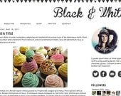 Blogger Premade Template: Black & White minimalist, gray, social media, theme, tribal, clean, twitter, icons