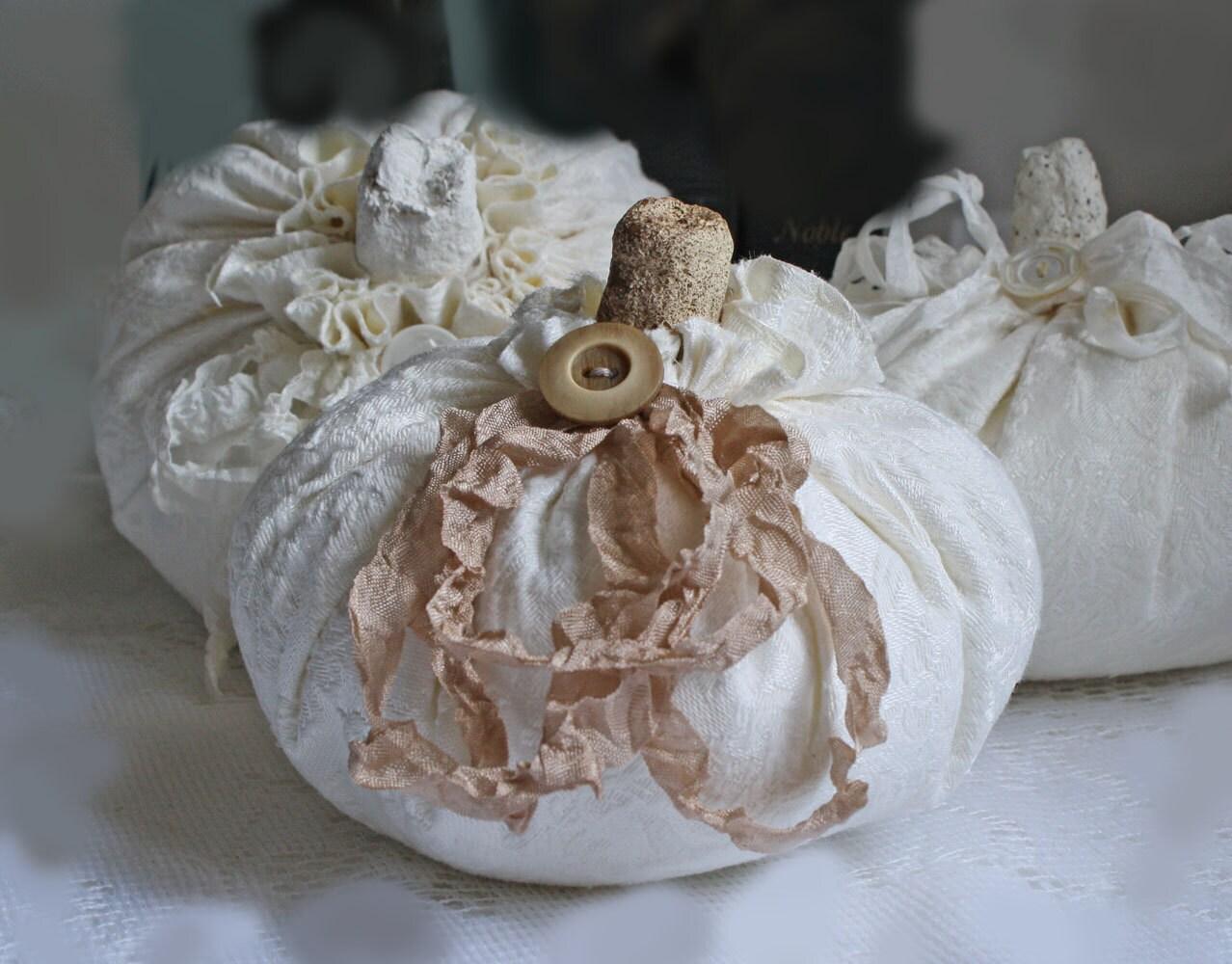 Handmade White Brocade Fabric Pumpkin Shabby Cottage Chic