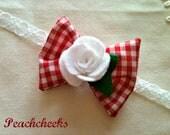 Felt White Rose Bow Headband Custom Sizes Perfect for the Holidays