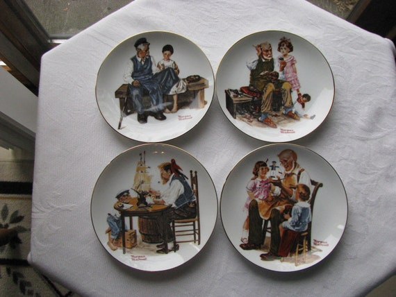 Four 1982 Beloved Classics by Norman Rockwell Series Plates A limited Edition Mint Condition