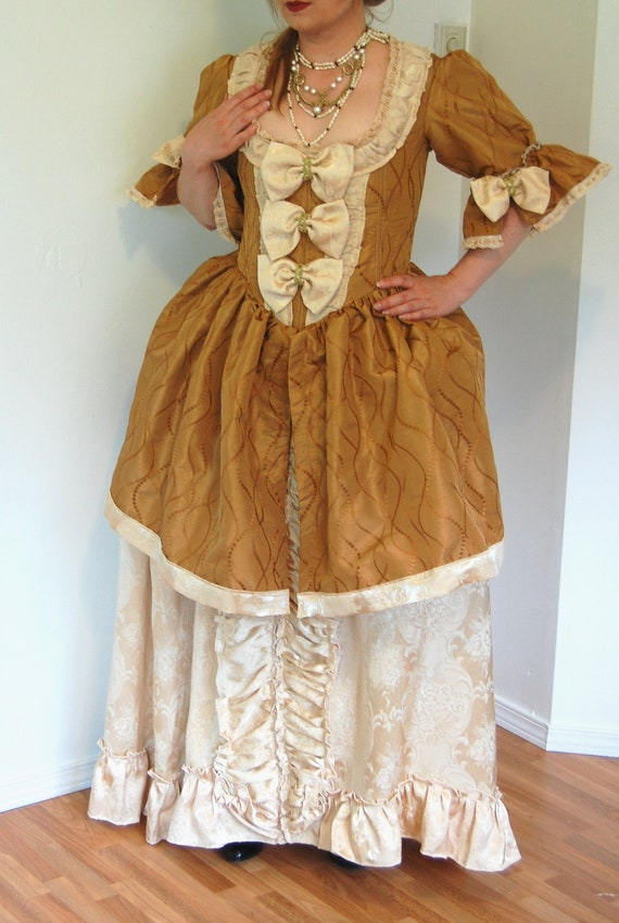Gold and Cream Marie Antoinette rococo Victorian inspired costume dress fits waist 34 to 36 inches comes with hips