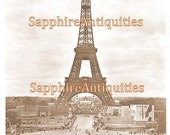 DIGITAL DoWNLOAD of Eiffel Tower Postcard 1937 International Exhibition PARIS FRaNce Vintage Photograph Printable IMAge Craft Supplies Scan
