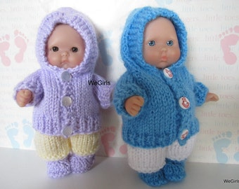 Knit Pattern Download Winter Hoodie Set for 5 inch Chubby Berenguer Baby Dolls snow pants and boots pdf  free shipping instant