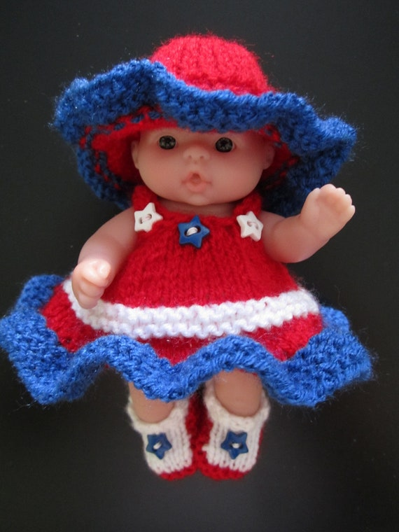 Hand Knit Doll Americana 4th of July Outfit for the 5 inch Berenguer Chubby Baby doll